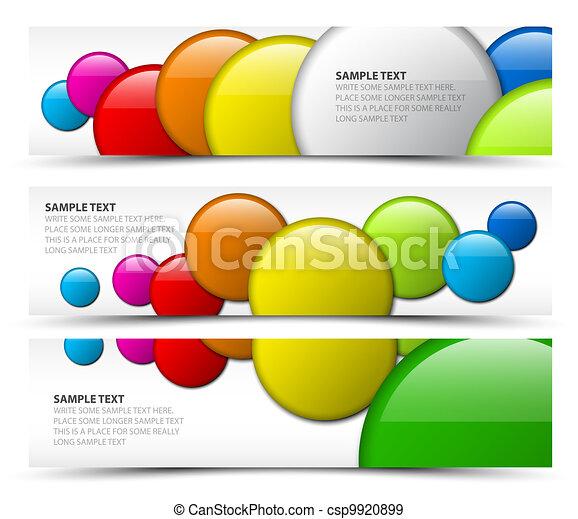 Set of horizontal banners with 3d circles - csp9920899