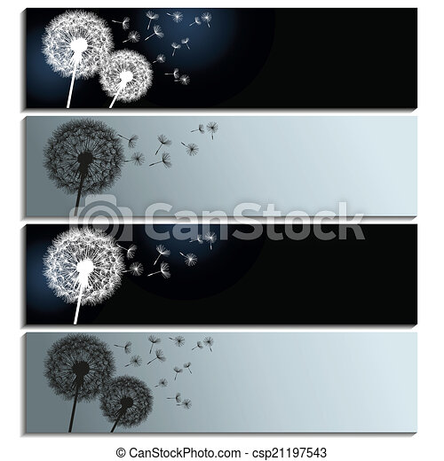 Set Of Horizontal Banners With Black And White Dandelions