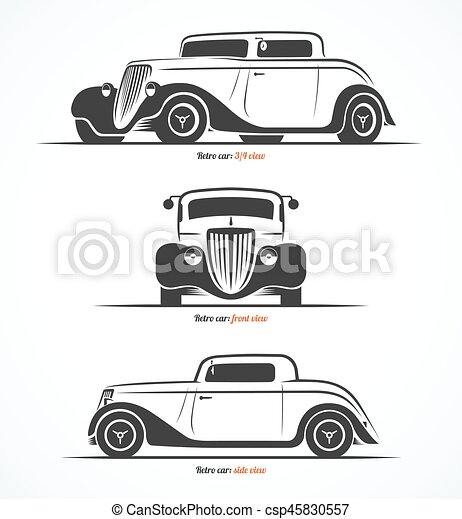 Set Of Hot Rod Or Vintage Custom Sports Car Silhouettes Vector