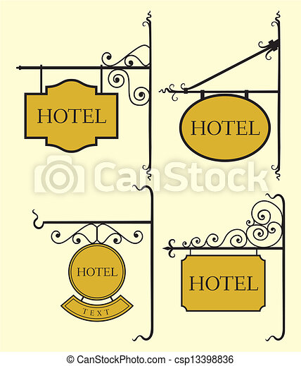 Set Of Hotel Sign Board