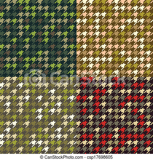 Set of houndstooth camouflage  patterns. - csp17698605
