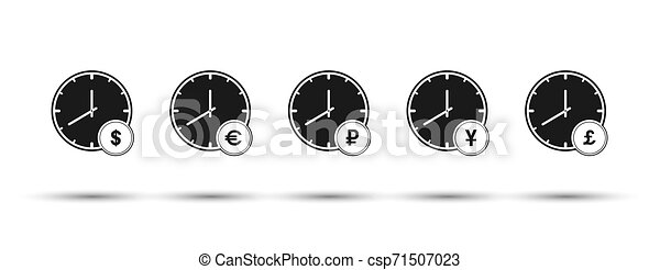 Set of hours with currency symbols. Flat design - csp71507023