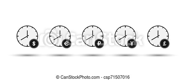 Set of hours with currency symbols. Flat design - csp71507016