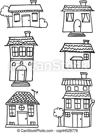 Set of house hand draw - csp44528776