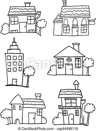 Set of house hand draw - csp44496116
