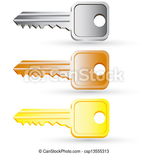 Set of house key icons. Vector illustration. - csp13555313