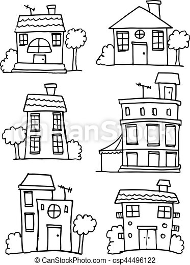 Set of house style hand draw - csp44496122