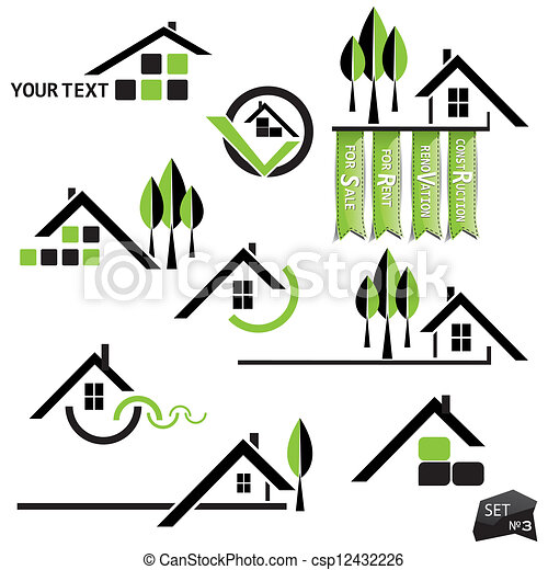Set of houses icons for real estate business on white background. With natural elements - csp12432226