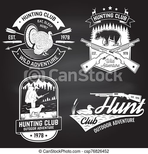 Set of Hunting club badge on the chalkboard. Vector. Concept for shirt, label, print, stamp. Vintage typography design with hunting gun, turkey , hunter, bear, duck, mountains and forest. - csp76826452