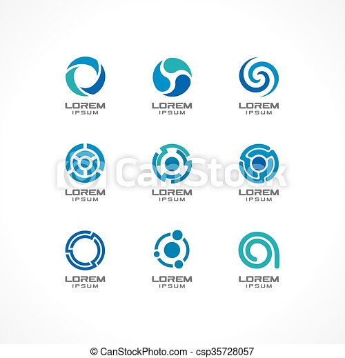 Set of icon design elements. Abstract logo ideas for business company,  finance, communication, technology, science and medical concepts.
