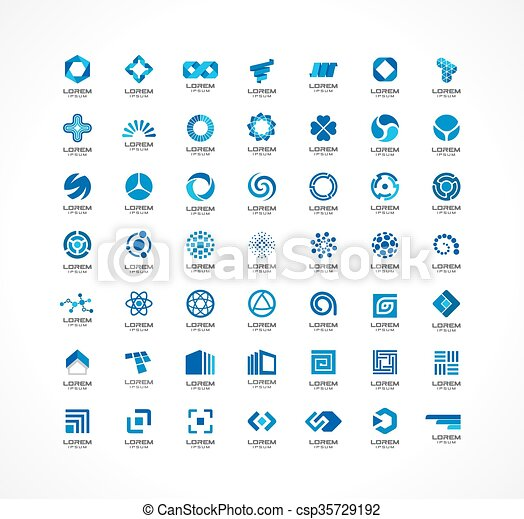 Set of icon design elements. Abstract logo ideas for business company.  Finance, communication, eco, technology, science and medical concepts.