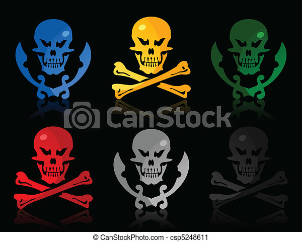 Set of icons a skull and bones and a skull and swords. A vector illustration - csp5248611