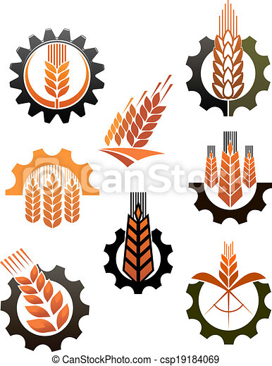 Set of icons depicting industry and agriculture - csp19184069