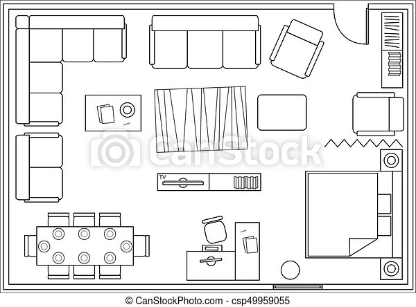 drawing furniture plans. Set Of Icons For Architectural Plans - Csp49959055 Drawing Furniture