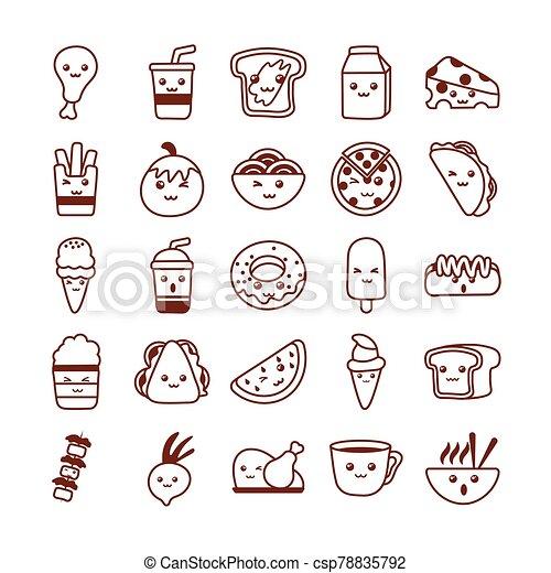 set of icons kawaii food , line style icon - csp78835792