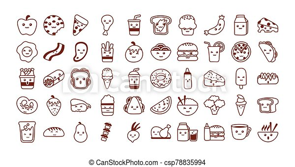 set of icons kawaii food , line style icon - csp78835994