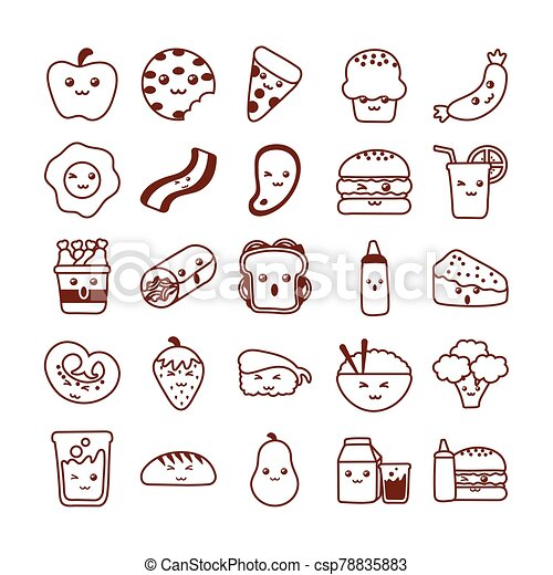 set of icons kawaii food , line style icon - csp78835883