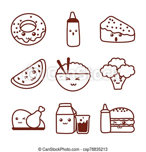 set of icons kawaii food , line style icon - csp78835213