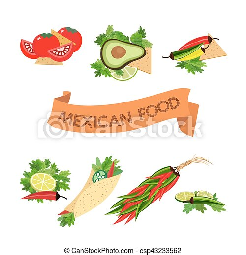 Set of icons. Mexican food - csp43233562