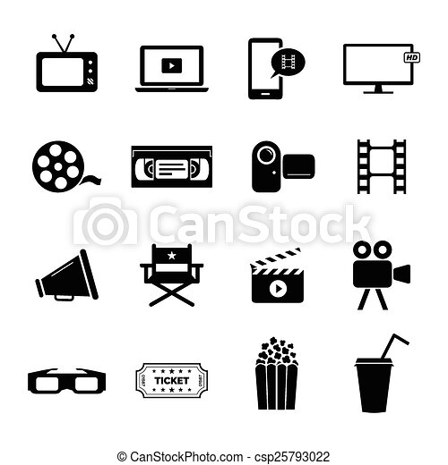 set of icons movie film cinema collection of several icons