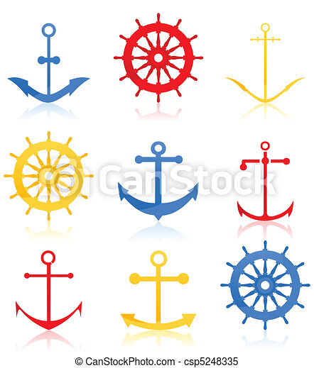 Set of icons on a sea theme. A vector illustration - csp5248335