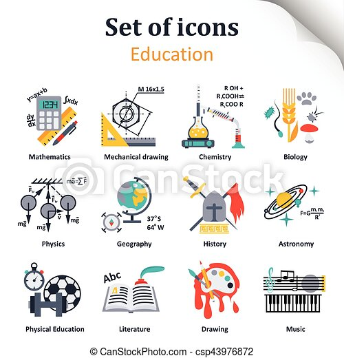 set of icons on a theme of school subjects set of icons on a theme