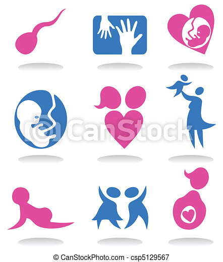 Set of icons on a theme pregnancy. A vector illustration - csp5129567