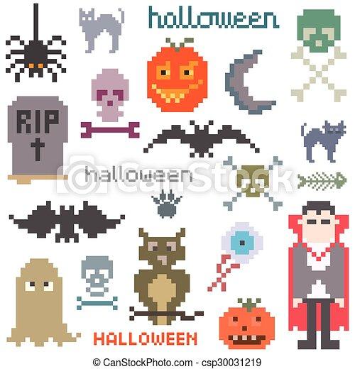 Set of icons on halloween theme - csp30031219