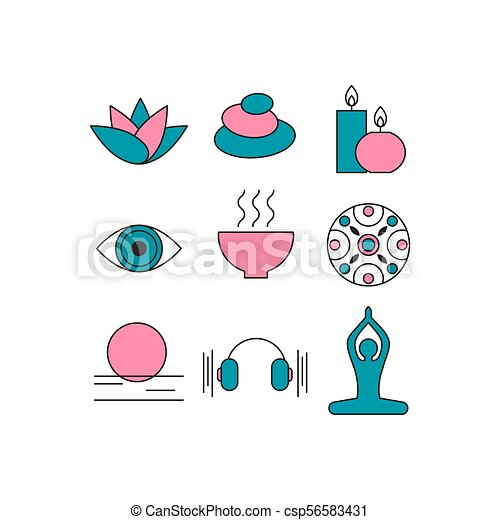 Set Of Icons Relaxation Meditation Zen Rest Symbols Spa Massage Stones Candles Yoga Relax Art Therapy Vector