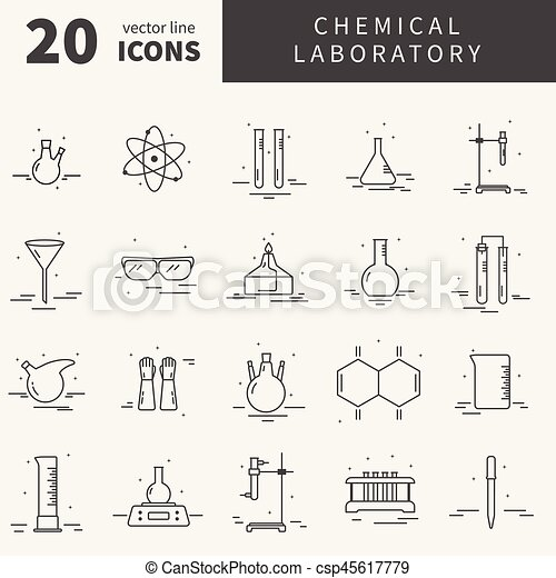 Set Of Icons With Chemical Laboratory Equipment Collection Of Line