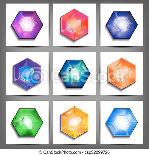 set of icons with crystals - csp32299726