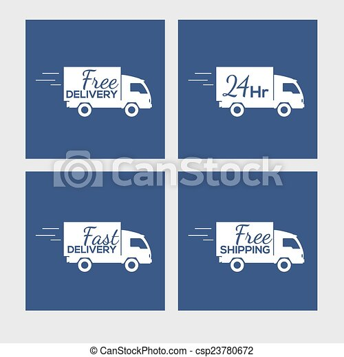 Set of icons with delivery car on square background - csp23780672