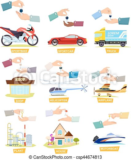 Set of Icons with Selling, Buying Cars, Houses - csp44674813