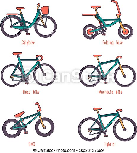 Types Of Bicycles >> Set Of Illustrations Different Types Bicycles Set Of Colour