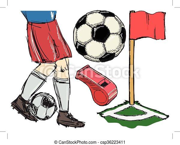 Set of illustrations of soccer topic - csp36223411