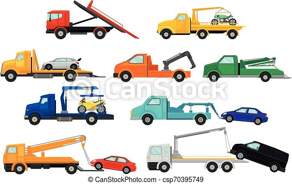 Set of images of tow trucks. Vector illustration on white background. - csp70395749