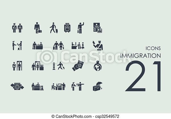 Set of immigration icons - csp32549572