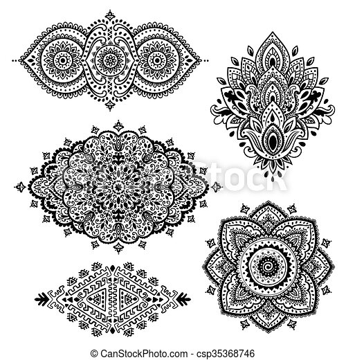 Set Of Indian Floral Ornaments Mandala Henna Set Of Vector Indian