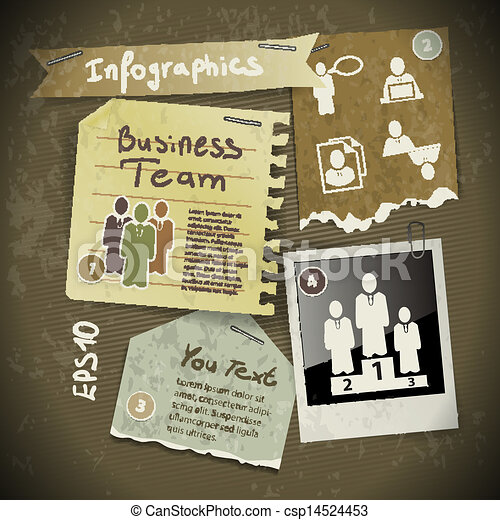 set of infographics from torn pieces of paper in vintage style scrapbooking with photo Polaroid - csp14524453