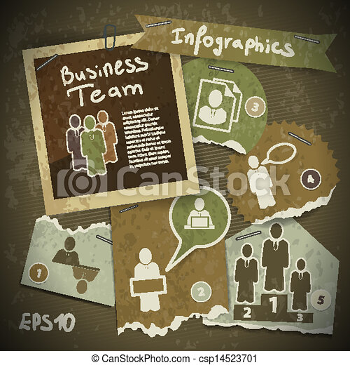 set of infographics from torn pieces of paper in vintage style scrapbooking. Team work - csp14523701
