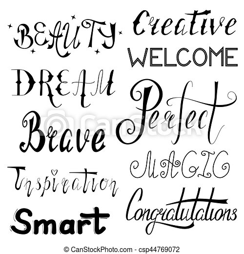 Hand Written Set Of Inspirational And Motivational Words Made In Fascinating Motivational Words