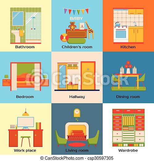 Living Room, Bedroom, Bathroom, Work Space · Set Of Interior Design Home  Rooms. Flat Design Work Space, Bedroom, Kitchen, Part 13