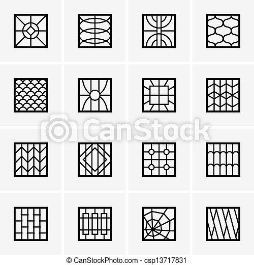 Set of iron window grills stock photos search for Window design ms