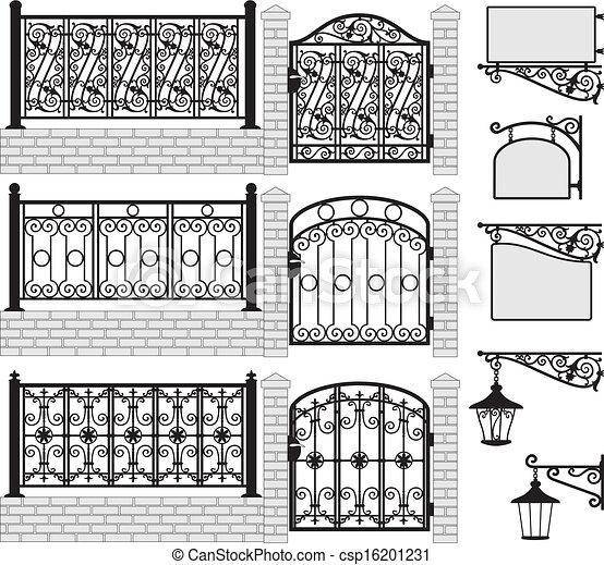 Set of iron wrought fences, gates - csp16201231