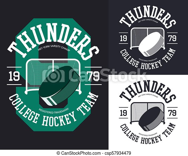 Set of isolated banners for hockey team - csp57934479