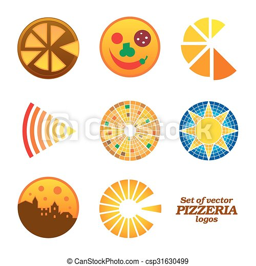 Set of isolated brown and orange round pizzeria logos on white background - csp31630499