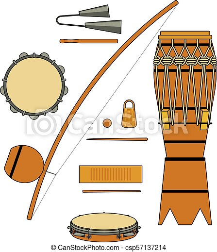 Set Of Isolated Colorful Brazilian Musical Instrument For Bateria Of Capoeira On White Background Colorful Collection Of Instruments Atabaque