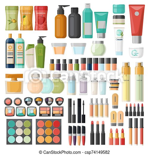 Set of isolated cosmetic, hygiene items, skincare - csp74149582