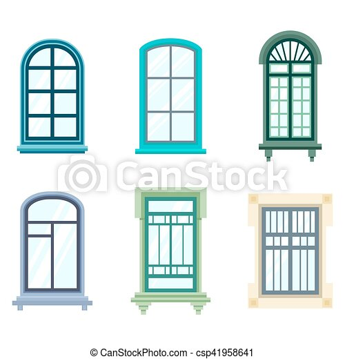 Set of isolated house window frames. wood old window frame design ...