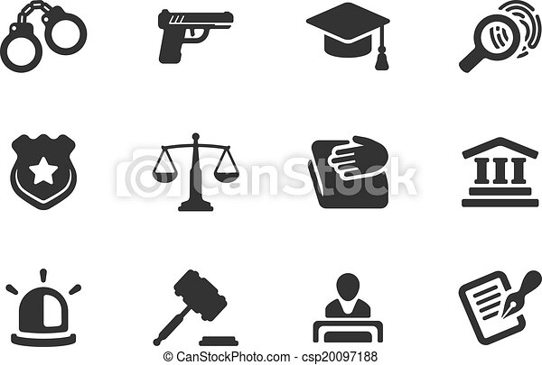 Set of justice and police icons - csp20097188
